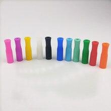 11 cores Dicas De Silicone Para Capa de Silicone Palha Palhas Palhas de Prevenção de Colisão de Dente de Aço Inoxidável Dicas