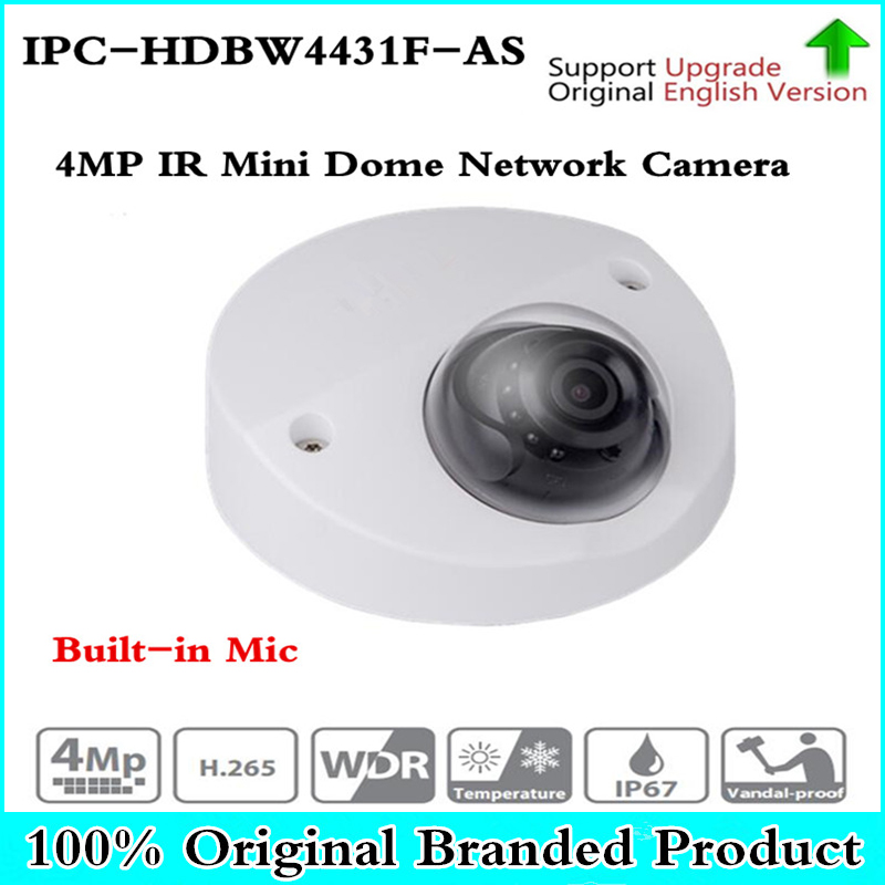 Original IPC-HDBW4431F-AS 4MP IR Mini Dome Network IP Camera IR20m support Micro SD card Smart Detection H.265 WDR IP67 IK10 PoE original ipc hdbw4431f as 4mp ir mini dome network ip camera ir20m support micro sd card smart detection h 265 wdr ip67 ik10 poe