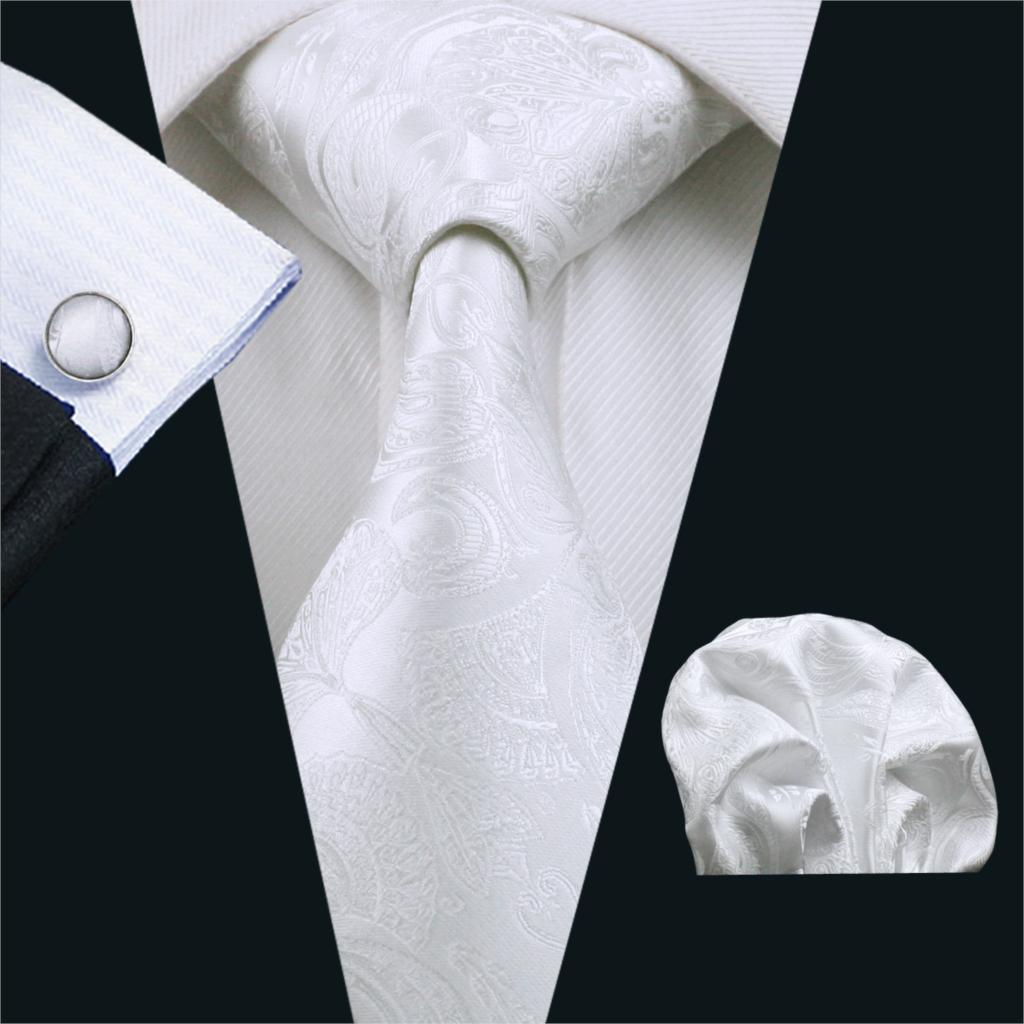 Fa-393 Men`S Tie White Paisley Silk Jacquard Woven Classic Tie Hanky Cufflinks Set For Men Business Wedding Party