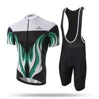 New Men Summer Cycling Set Green Fire Short Sleeve Quick Dry Shirt Jersey GEL Pad Bib