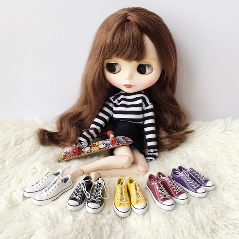 1 Pairs 4.5cm Sneakers Dolls Canvas Shoes For Blyth Doll Shoes For 1/6 Doll Accessories fit Blyth, Licca, Azone,1/6 Doll Toys & Hobbies Dolls Accessories