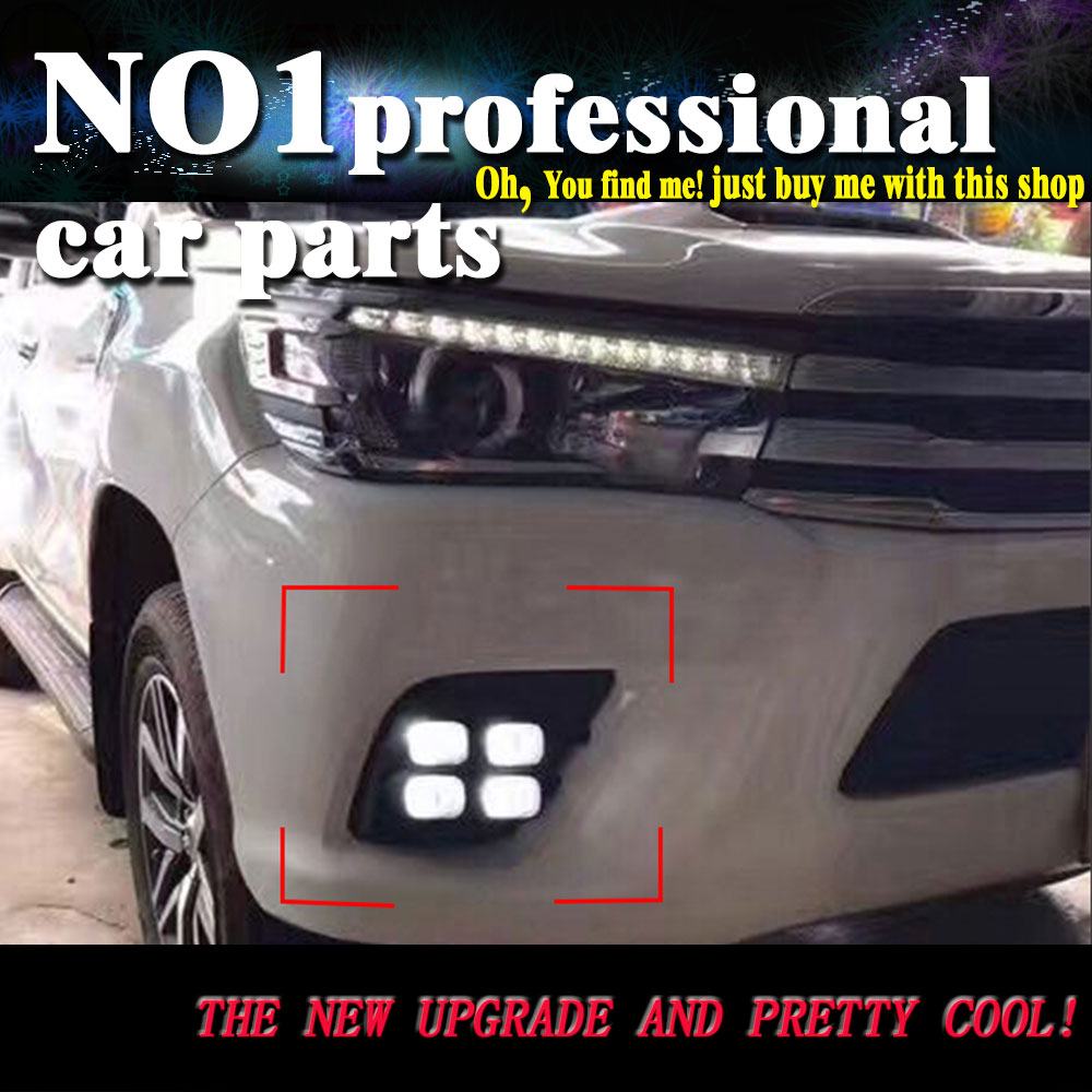 car styling  For TOYOTA HILUX VIGO LED 2015 2016 DRL led fog lamps daytime running light High brightness guide LED DRL godox ar400 400w li ion battery lcd panel powerful macro led ring flash speedlite video light kit with free dhl ems