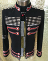 Большой размер Costomized мужской черный кристалл заклепки куртка Ds Dj певец танец носить костюм верхняя одежда горный хрусталь пальто оборудование