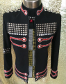Plus Size Costomized Men's Black Crystal  Rivets Jacket Ds Dj Male Singer Dance Wear Outerwear Costume Rhinestone Coat Outfit