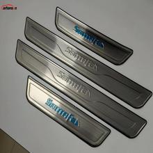 Car Accessories Styling For Hyundai Santa Fe Stainless Steel Door Sill Scuff Plate Santafe Door Sills Trim Car Sticker 2013 2015