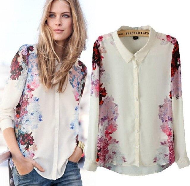 Free shipping!2013 turn-down collar  sexy shirts floewrs style long-sleeved  chiffon women Blouses shirts