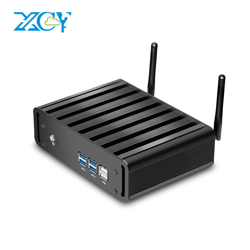 XCY Mini PC Intel Core i7 7500U i5 7200U i3 7100U Windows 10 Linux DDR3L RAM mSATA SSD HDMI VGA WiFi Gigabit Ethernet 4K 6xUSB image