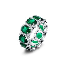 Luxury Austrian Crystal Finger Eternity Ring with Purple Emeralds Topas Clear Full 3A Cubic Zirconia Silver Color Ring Jewelry