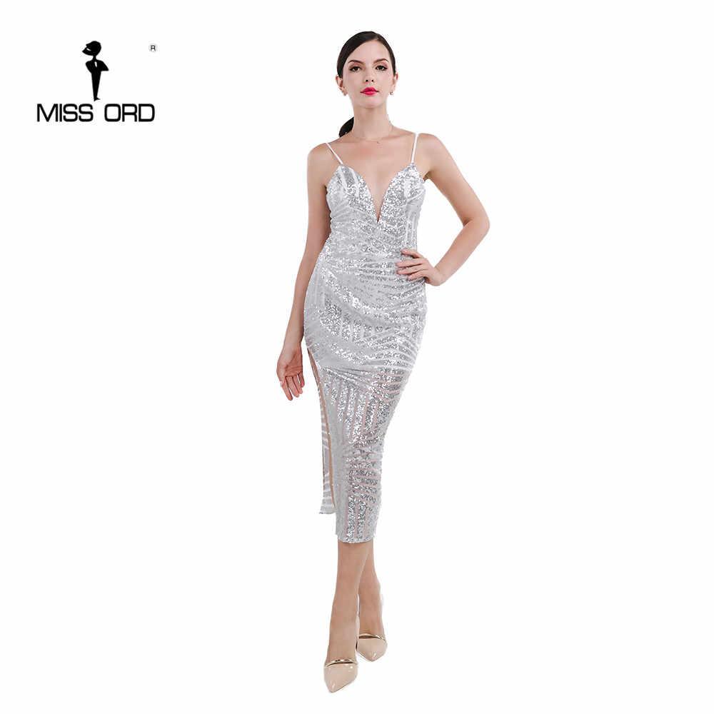 2d4dd36e375 Бесплатная доставка Missord 2019 сексуальное платье с v-образным вырезом  без рукавов с пайетками FT4672