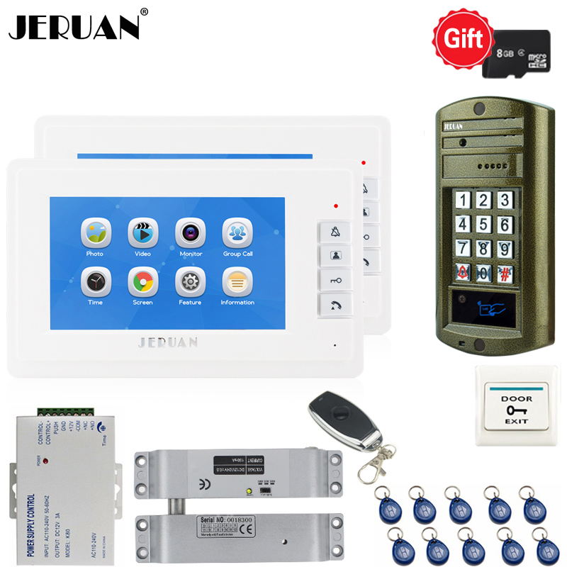 JERUAN 7 inch Video Doorbell Voice/Video Recording Intercom System kit 2 white Monitor+ Waterproof password Access Mini Camera