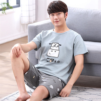 Men sleep spring autumn Cotton A04 Short Sleeve Shorts Youth Casual spring Summer Thin type men