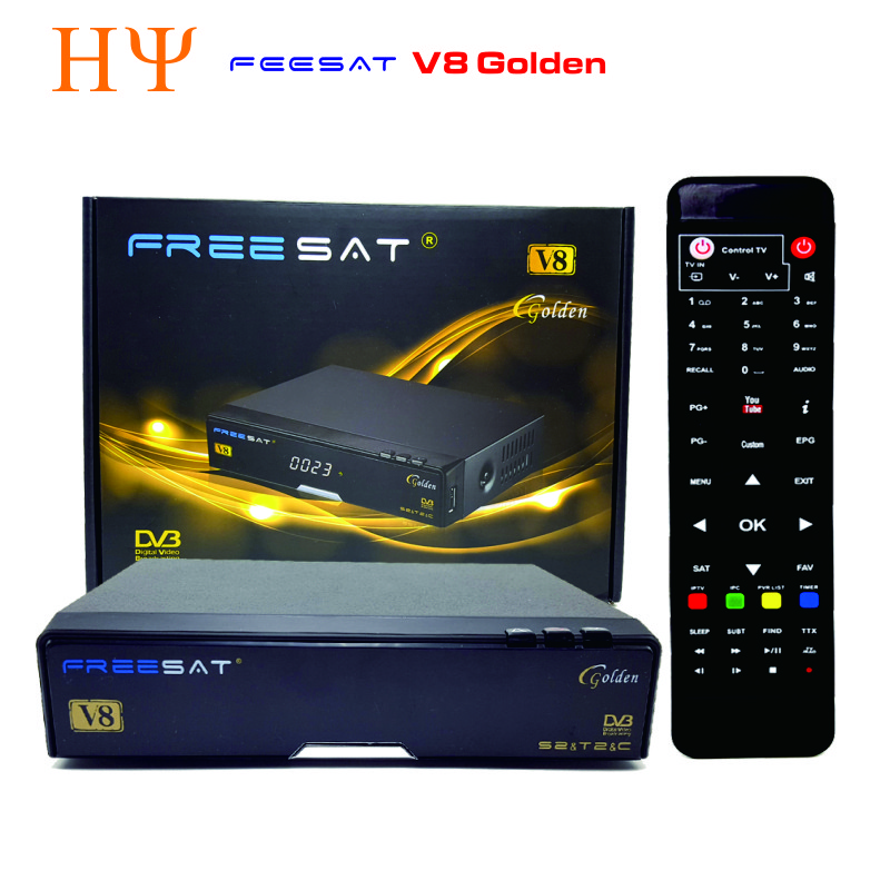 [Genuine] Freesat V8 Golden DVB-S2 + DVB-T2 + DVB-C Satellite TV Combo Receiver Support PowerVu Biss Key Cccamd Newcamd USB Wifi de it es channels dvb s s2 satellite fta lines 1 year cccam clines newcamd usb wifi satellite tv receiver for free shipping