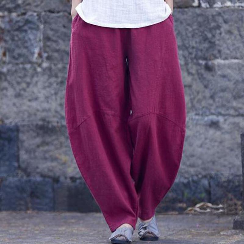 USWMIE 2018 Frühling Harem Hosen Frauen Neue Einfache Joker Casual Elastische Taille Einfarbig Persönlichkeit Taschen Komfort Leinen Hosen