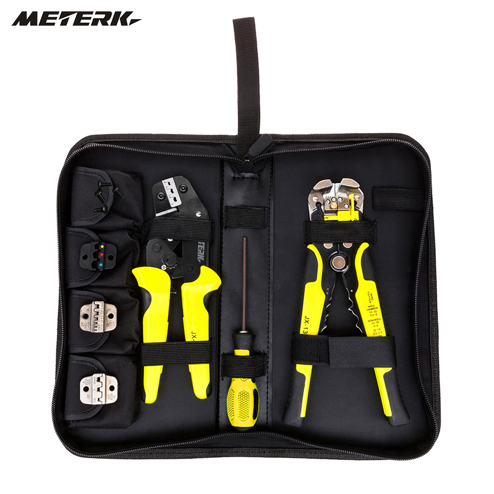 Meterk 4 en 1 Herramienta multi Alambres kit arrugador ingeniería trinquete que prensa terminal Alicates Alambres crimpe + Alambres stripper + screwdiver