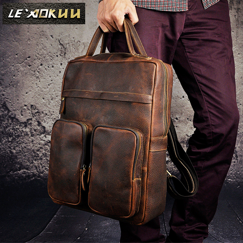 High Quality Cowhide Men Travel Bag University Student School Book Bag Design Backpack Male Fashion Backpack Daypack 2107 men crazy horse real leather fashion travel bag university school book bag cowhide design male backpack daypack student bag male