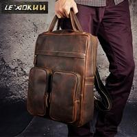 High Quality Cowhide Men Travel Bag University Student School Book Bag Design Backpack Male Fashion Backpack Daypack 2107