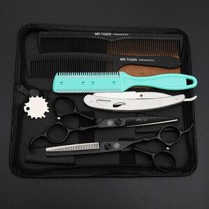 Image 4 - Tijeras japonesas negras para peluquería, conjunto de corte de pelo, 5,5, 6,0