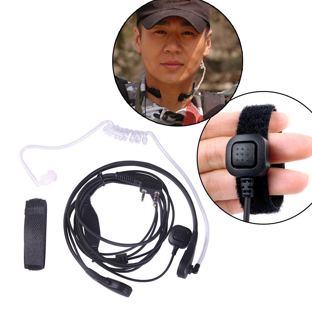 1 Pcs 2Pin PTT Throat Mic Covert Acoustic Tube Earpiece Headset with Plastic Ear Bud Walkie Talkie Headphone for Baofeng UV-5R