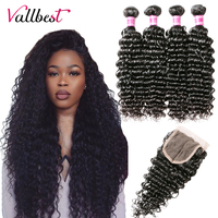 Vallbest Brazilian Deep Wave Bundles With Closure 3 Pieces Human Hair Bundles With Closure Remy Hair