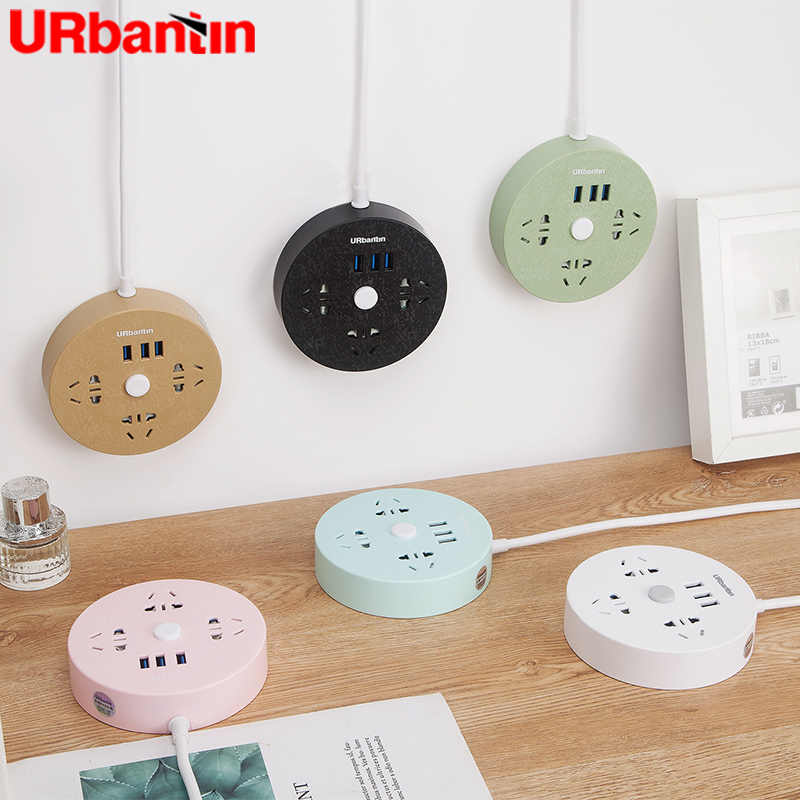 Urbantin Power Strip 3USB 3AC Socket met Smart plug usb outlet Extension Socket Quick charge Voor xiaomi samsung met EU AU plug
