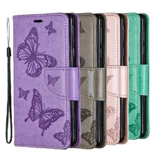 Luxury flip wallet cover for Sony X peria 10 solid color PU leather case 3D butterfly embossed phone