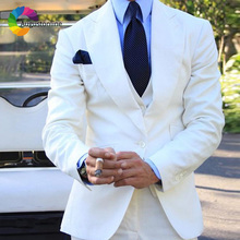 Casual White Men Suits For Wedding Suit Custom Slim Fit Groom Tailor Made Costumes Tuxedos Best Man Ternos Anzug Herren 3Pieces