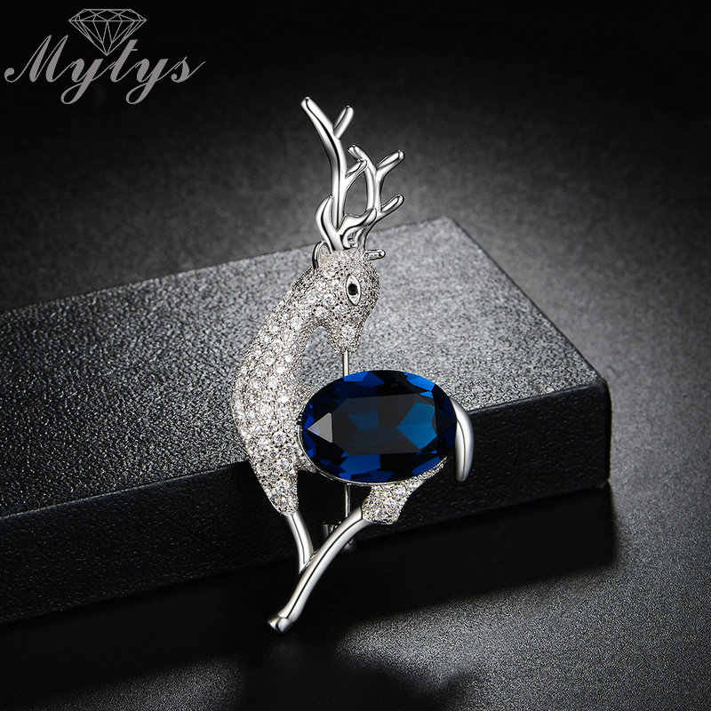 Mytys Cute Kristal Rusa Bros Pin Natal Hadiah Natal Kerah Perhiasan Aksesori Menawan Berkilau Bros X296