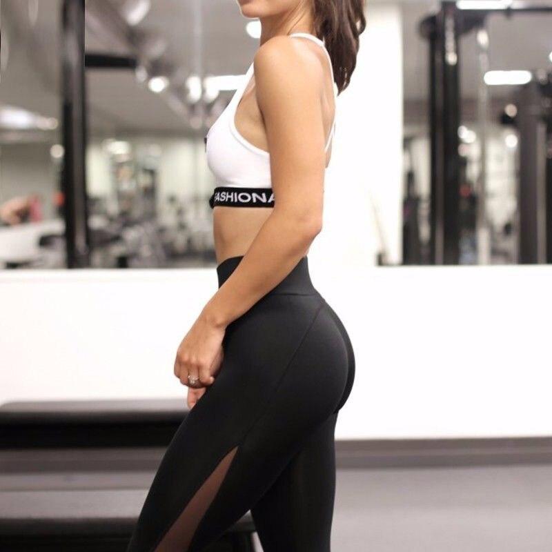 2017 Hot Women Sexy Yoga Pants Black Sport Pants Elastic