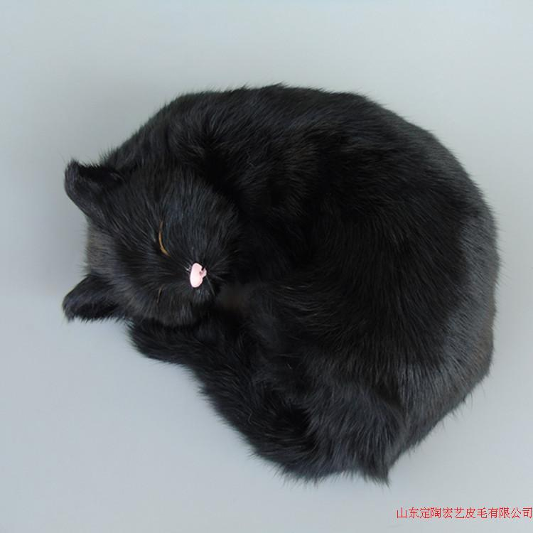 black simulation cat polyethylene & furs sleeping cat model gift about 25x20x11cm 239
