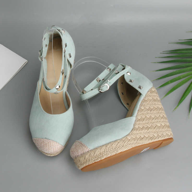 c1797488832 Meotina Summer High Heels Women Sandals Rivets Espadrille Platform Wedges  Heel Ankle Strap Shoes Bohemia Sandals Big Size 34-43