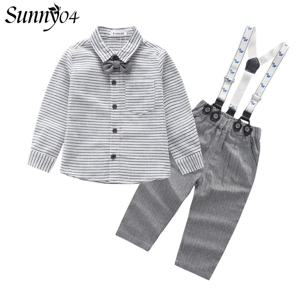 Newborn Baby Boys Formal Clothes Tie Sets 2017 Spring Autumn Striped Long Sleeve Shirts Overall Pants Gentleman Birthday Suits 2016 leisure baby boys clothes set gentleman handsome formal wear wedding vest white t shirt tie pants party suits free shipping