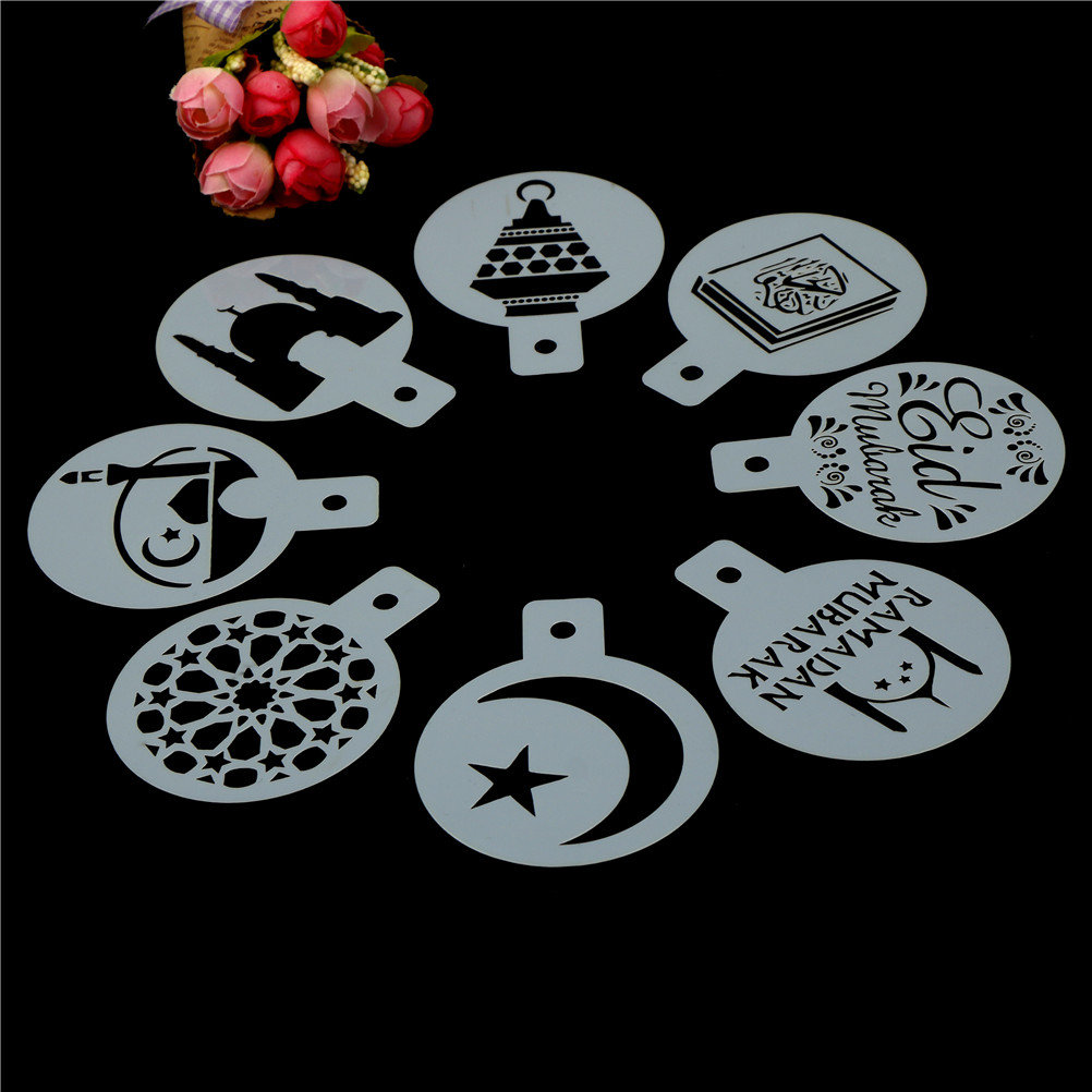 8pcs/set White Coffee Stencils Eid Mubarak Ramadan Plastic Coffee Printing Template Spray Stencil Fondant Cake Biscuits Decor