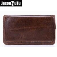 JASON TUTU 2018 Hot Sale Men Wallets Genuine Leather Coin Zipper Pocket high quality Men's Long Wallet Male Clutch Bags FB4046