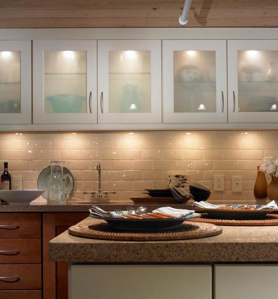 LED Under Cabinet Lights Motion Sensor Round Kitchen Cupboard Lighting Exhibition Bookshelf Furniture Night Light Counter Lamps12