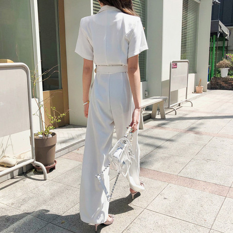 Office Ladies Notched Collar Short Sleeve Sashes Women Jumpsuit Elegant Work Business Wide Leg Pant White Jumpsuits Female 2019 Islamabad