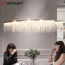Modern Aluminum Chain Meteor Shower led Pendant Light for Hotel Hall Restaurant Dining Room Silver Creative Hanging Pendant Lamp zx modern european large chandelier luxury fashion metal tassel led e27 pendant light for hall hotel art aluminum indoor lamp