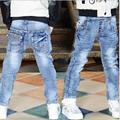 2017 Primavera Crianças Moda Jeans Meninos Calças Jeans Lavagem Luz Jeans Meninos para Meninos Cintura Elástica Casuais calças de Brim das Crianças P244