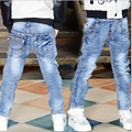 2017 Spring Children Fashion Jeans Boys Jeans Pants Casual Light Wash Boys Jeans for Boys Elastic Waist Children's Jeans P244