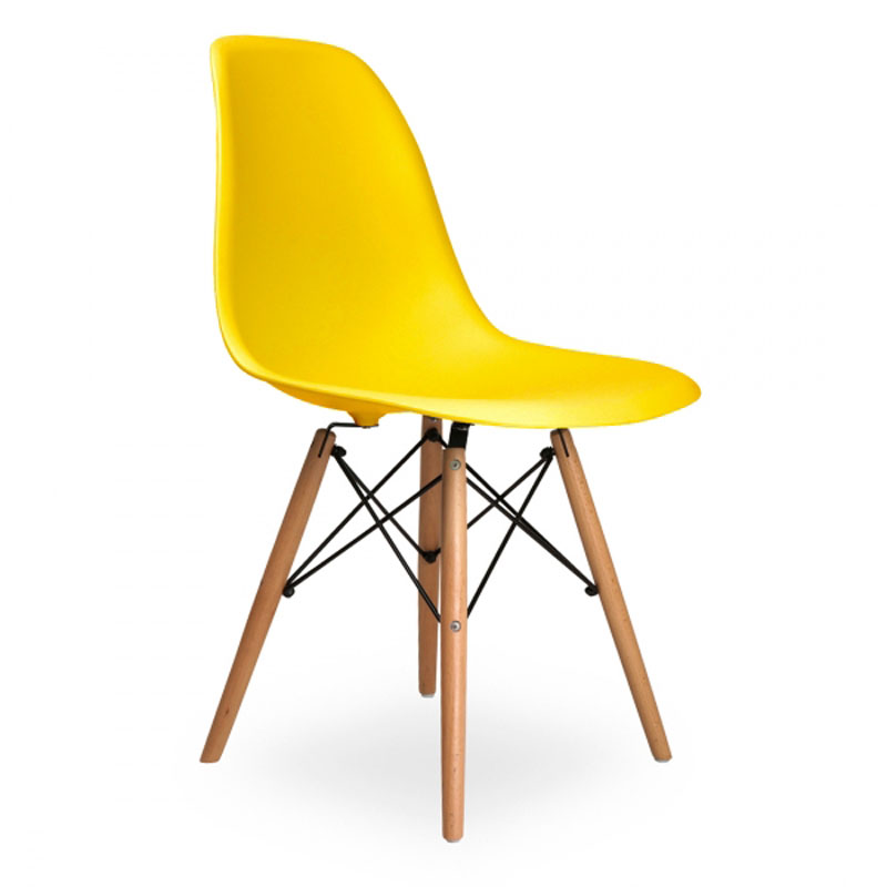 6 pieces for a lot PP Plastic Dining Room Chairs Beech Wood Legs Casual Chairs Color Yellow