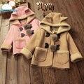 Новый 2 цветов высокого качества Новорожденных Девочек Зимние Куртки с мультфильм шляпа для Ребенка новорожденных парка пальто с капюшоном младенческой детей одежда
