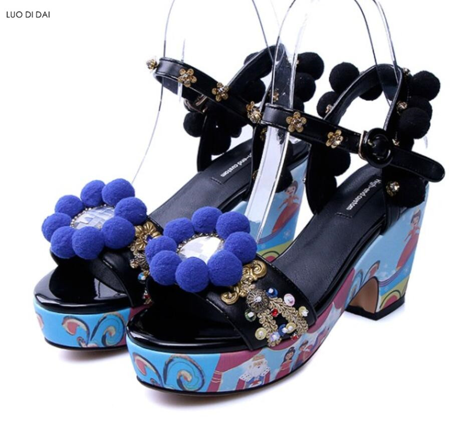 2018 Bohemian style women sandals wedding shoes rhinestone stud sandals open toe sandals red pom pom velvet high heels mix color pom pom detail tie leg flat sandals