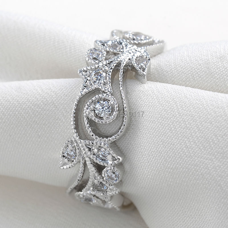 96e01bde946 Details about Vintage Platinum Plated Wedding Ring Round Cut Engagement  Band AAA CZ Classic