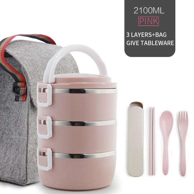3 Layer Pink Set Cheap bento boxes 5c6479e2ef006