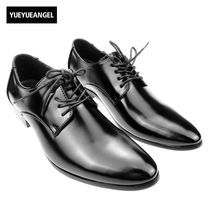 New British Style Man Business Shoes font b Oxfords b font Lace Up Pointed Toe Fashion