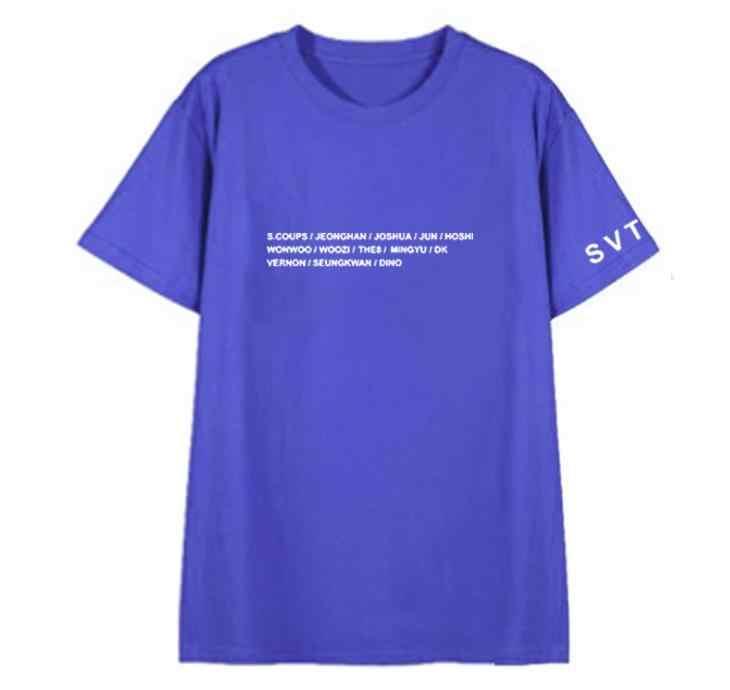 Поп семнадцать Японии концерт же все составляющие имя печать футболка унисекс Летний стиль k-поп Круглая горловина футболка с короткими рукавами