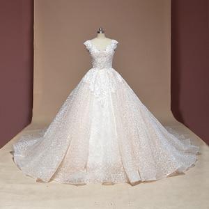 Image 1 - Vestido דה Noiva שווי שרוול כדור שמלת וינטג Robe De Mariage מיוחד תחרה עיצוב מבריק לוקסוס חתונה שמלת מפעל