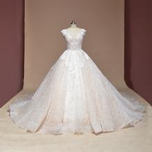 Vestido de Noiva cap sleeve Ball Gown Vintage Robe De Mariage special lace design shiny luxurious wedding dress factory