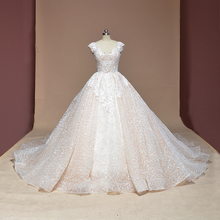 Vestido de Noiva cap sleeve Ballkleid Vintage Robe De Mariage spezielle spitze design shiny luxuriöse hochzeit kleid fabrik