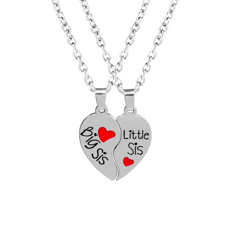 Big Sis Little Sis Sisters Best Friends Broken Heart Necklace Red Heart Pendants Necklace Family Love Girl New Year Gift 2PC/Set