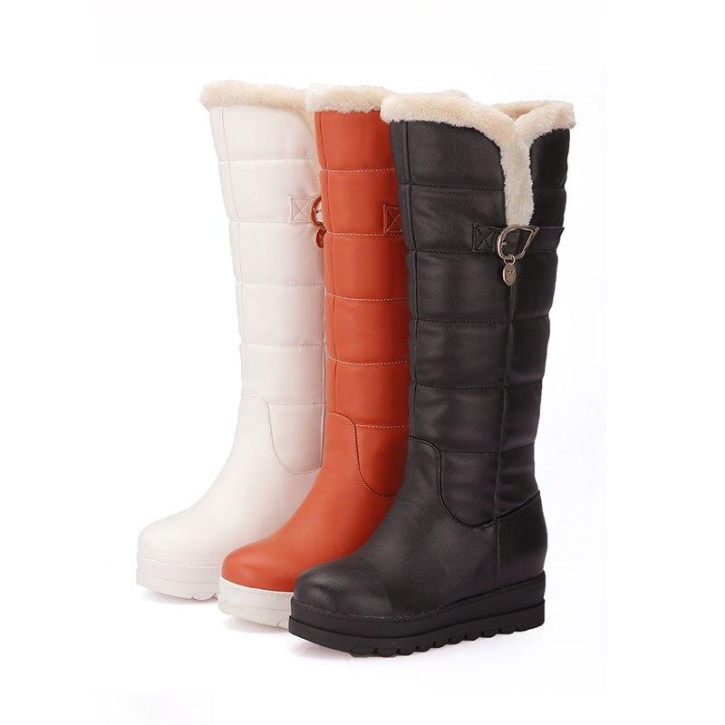 Black Zapatos Rodilla Flat Moda Mujeres orange Plataforma Invierno Hebilla Slip Sólida Fanyuan Mantener Caliente Botas Nieve white on De Mujer pqTx0aw